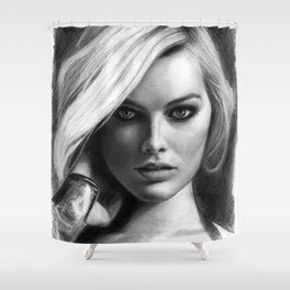 Margot Robbie Pencil Sketch Shower Curtain