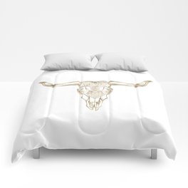 Bull Skull Gold Comforters