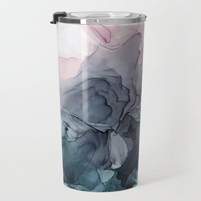 Blush and Payne's Grey Flowing Abstract Painting Travel Mug