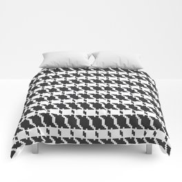 Black and white geometric abstract background, cloth pattern, goose foot. Pied de poule. Ve Comforters