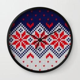 Winter knitted pattern 11 Wall Clock