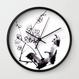 Plum blossom sumie ink Wall Clock