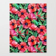 Plenty of Poppies - black Canvas Print