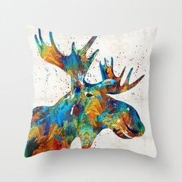 Colorful Moose Art - Confetti - By Sharon Cummings Throw Pillow