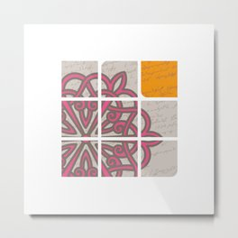 Tile Pink Rosette Script Aivazovsky Letter by Ania Mardrosyan Metal Print