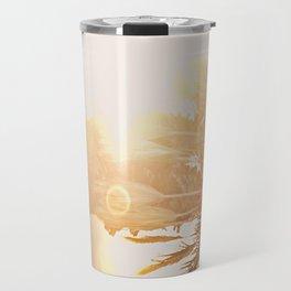 California Fine Art Print Yellow, Peach, Cream La Quinta Palm Tree Photograph - Desert Sunset  Travel Mug