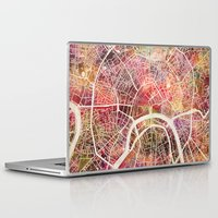 moscow Laptop & iPad Skins featuring Moscow Map by MapMapMaps.Watercolors
