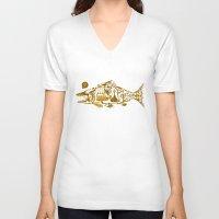 cyberpunk V-neck T-shirts featuring Cyberpunk fish by Oceloti