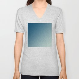 Dark Blue and Light Cyan Aqua Blue Green Gradient Ombré Unisex V-Neck