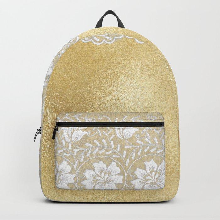 Bridal lace - White floral elegant lace on gold metal backround Backpack