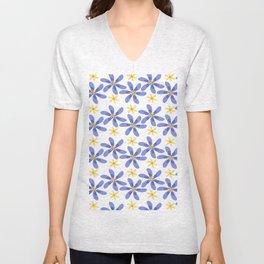 Purple Yellow Flowers Unisex V-Neck