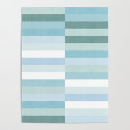 Color Block Stripe in Mint Blue Poster