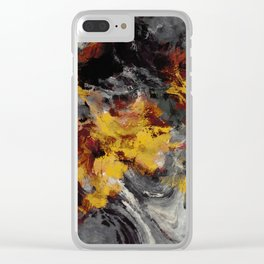 Yellow / Golden Abstract / Surrealist Landscape Painting Clear iPhone Case