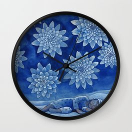 Sleeping girl (watercolor on textured background) Wall Clock