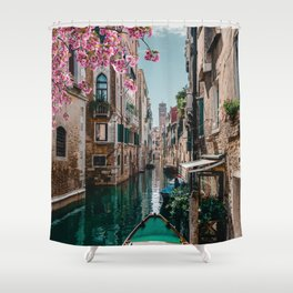Spring Venice emerald canal with old building  Shower Curtain