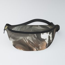 Horse In Flaxen Chestnut Brown On Black Fanny Pack