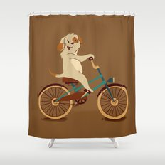 Puppy on the bike Shower Curtain