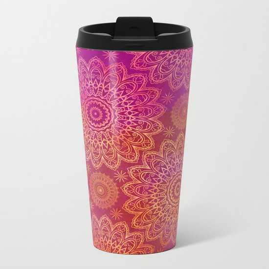 Mandala Watercolor Pattern pink orange Metal Travel Mug