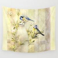 tits Wall Tapestries featuring English Blue Tits by Trudi Simmonds