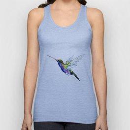 Flying Hummingbird, Blue green wall art minimalist bird Unisex Tank Top