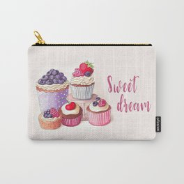 Sweet dream Cute cupcakes with berries Hand-drawn illustration Carry-All Pouch