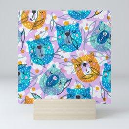 cute floral and bears pattern Mini Art Print