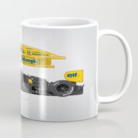senna Mugs featuring Outline Series N.º5, Ayrton Senna, Lotus 99T-Honda, 1987 by Ricardo Santos