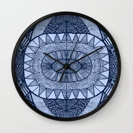 Denim Blue Tangled Mania Pattern Doodle Design Wall Clock