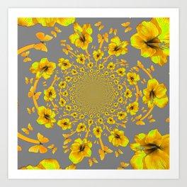 CHARCOAL GREY YELLOW AMARYLLIS BUTTERFLY ART Art Print