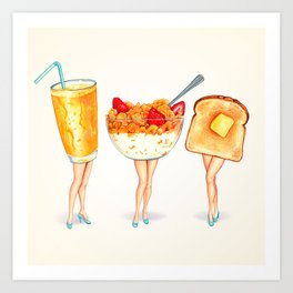 Breakfast Pin-Ups Art Print