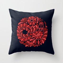 Folk Rooster Throw Pillow