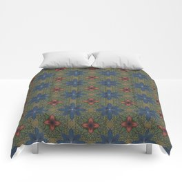 blue and red flowers Comforters