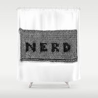 nerd Shower Curtains featuring Knitted Nerd by Katy Shorttle