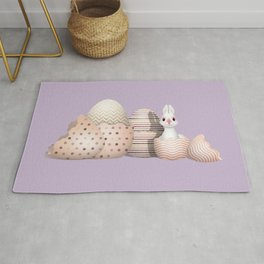 Kawaii Bunny hatching from Golden Colored Eggs Purple Background Rug