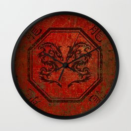 Distressed Dueling Dragons in Octagon Frame With Chinese Dragon Characters Wall Clock