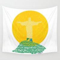 rio de janeiro Wall Tapestries featuring Cristo Redentor - Rio de Janeiro by Julia Braga