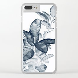 Ficus | Rubber Plant Photography | Blue Leaves | Tropical | Botanical Art Print Clear iPhone Case
