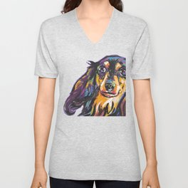 Longhaired Dachshund Fun Dog Portrait bright colorful Pop Art Painting by LEA Unisex V-Neck