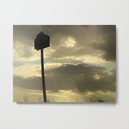 Grey tan stormy clouds in the middle of nowhere Metal Print