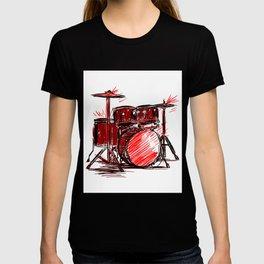 Music Lover Art Drum Kit In Red Cool Modern Design T-shirt