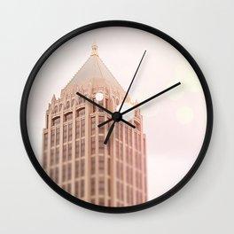 Building and Pink Bokeh Wall Clock