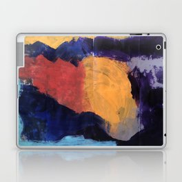 Mountain and Sun Abstract Acrylic Painting on Paper Laptop & iPad Skin