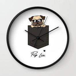 Pug Love Pocket Wall Clock