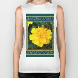 DECORATIVE TEAL & YELLOW  MARIGOLD FLORAL  PATTERN Biker Tank