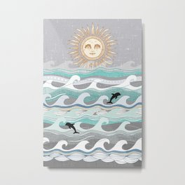 sunset dolphin waves Metal Print
