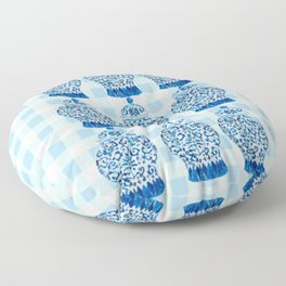 Blue and White Ginger Jar Gingham  Floor Pillow