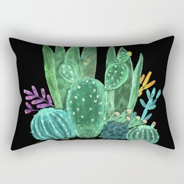 Cacti and succulents on a black background. Rectangular Pillow