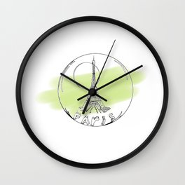 paris in a glass ball . green pastel colors Wall Clock