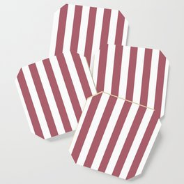 Deep puce purple - solid color - white vertical lines pattern Coaster