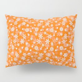 Festive Turmeric Orange and White Christmas Holiday Snowflakes Pillow Sham